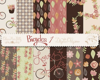 Bicycles and Flowers 1 Earth Tones - Patterns {Digital Papers}