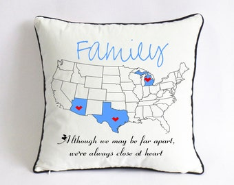 long distance family pillow case-Xmas gift for family-US map canvas cushion-family reunion gift-we far apart,we're always close at heart