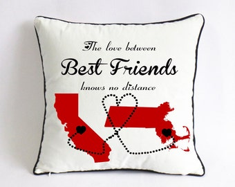 best friend long distance cushion cover-graduation gift for BFF-charistmas gift for friend-the love between best friends knows no distance