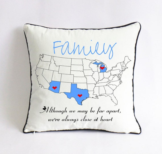 Long Distance Family Pillow CaseXmas Gift For FamilyUS Map - Us map pillow