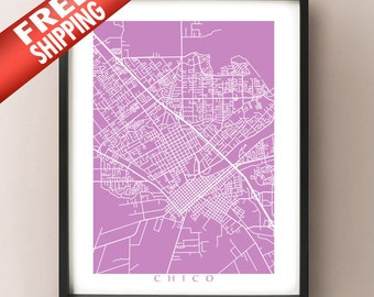 Chico Map Print - California Art Poster