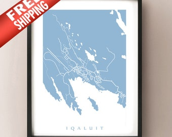 Iqaluit Map Print - Nunavut, Canada Art Poster - Choose colour and size