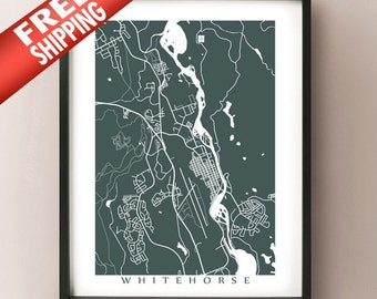 Whitehorse Map Print - Yukon, Canada Art Poster - Choose colour and size