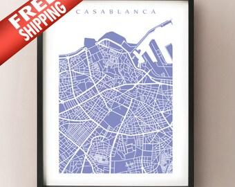 Casablanca Map Print - Morocco Poster