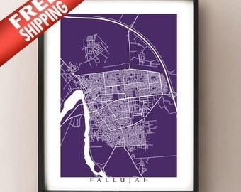 Fallujah Map Print - Iraq Poster Art - الفلوجة