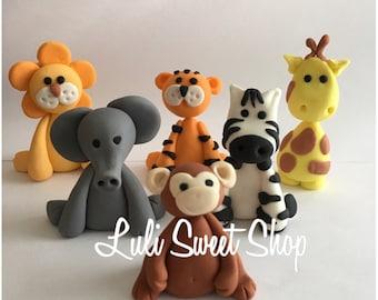 6 Edible Fondant safari Animals cake toppers
