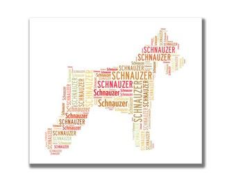 Schnauzer - Personalised dog word art. Digital image.