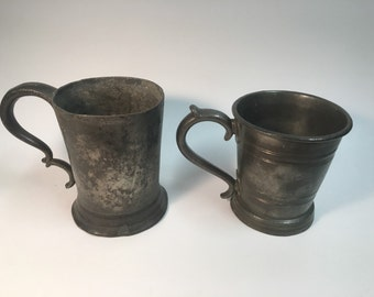 Free Shipping!! Early 1800s pewter tankards.