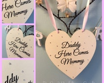Here Comes The Bride Personalised Wedding Hanging Heart