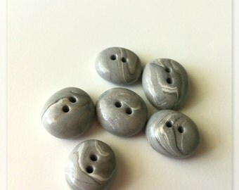 Polymer Clay Gray Stone Buttons - OOAK - Set of 6