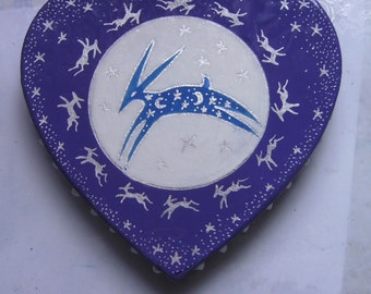 Spirit Hare hand painted mache heart fridge magnet
