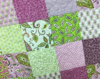 Lilac and Green Baby Quilt