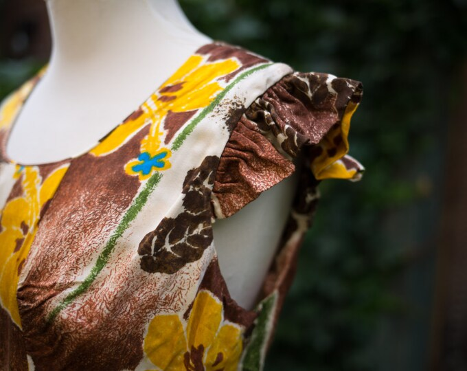 Vintage Brown and Yellow Floral Maxi Dress with Hawaiian Flower Pattern / Size 16 / Mod Tropical Inspired / Hukilau Fashions, Honolulu