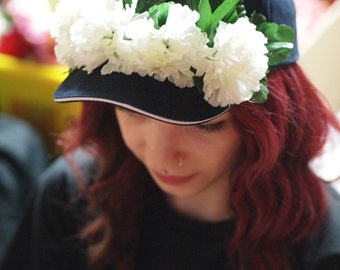 White Blooms Navy Festi Hat
