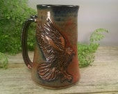 22 oz Iron Red Raven Stein - Wheel Thrown and Hand Carved Stoneware Beer Mug