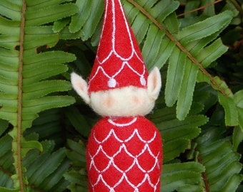Elf Ornament ~ Decoration ~ Christmas ~ Holiday Stuffed Red Felt with White Machine Embroidered Garland
