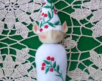 Elf Ornament ~ Decoration ~ Christmas ~ Holiday Stuffed Felt White With Holly Berries