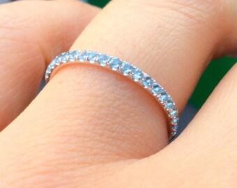 18K Aquamarine Half Eternity Band 1.6mm Aquamarine Infinity Ring 18K Aquamarine Matching Wedding Band 18K Light Blue Birthstone Stacking