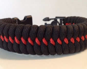 SALE! Firefighter Red Line Fishtail Paracord Bracelet with Handcuff Key Buckle (See Description For Size Instructions)