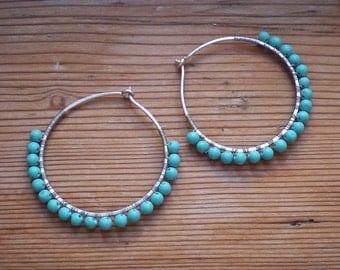 Turquoise hoop earrings // turquoise earrings // turquoise jewelry // hoop earrings