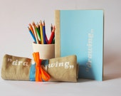 blue drawing set, pencil roll and sketchbook, for art lovers, travel sketching kit, art set, gift for kids