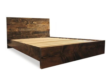solid wood platform bed frame and headboard simple bed frame bedroom furniture rustic and modern bed frame wood bedroom furniture