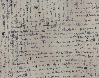 Wordsmith Floral Script Grey - 1/2yd