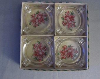 Vintage Czechoslovakia Mini Bohemium Ashtray Set
