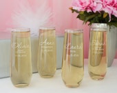 Bridal Party Stemless Champagne Flutes Engraved with Any Combination of Our Bridal Designs, Elements, & Fonts from our Selection (Each)
