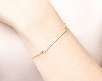 Skinny gold bar bracelet - personalised bar bracelet - silver name bracelet - long bar bracelet - coordinates bracelet