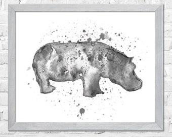 Hippo Watercolor Print, Hippo Painting, Watercolor Art, Animal Art, Nursery Art Print, Wall Art Print, Watercolor Painting, Home Decor