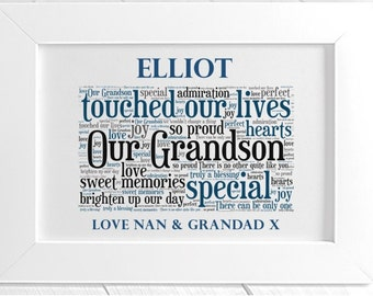 Personalised Grandson Framed Word Art