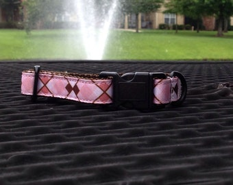 Small Pink and Brown Argyle Collar