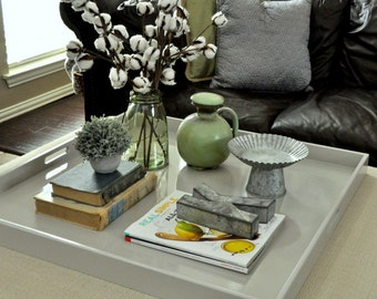 """30"""", 32"""" or 36"""" Square Extra Large Ottoman Tray - Light Gray"""
