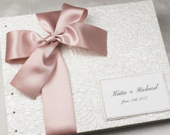 Personalized Guest Book, White Guest Book, Floral Guest Book, Custom Guest Book, Pink, Rose Gold, Pantone Rose Quartz, MADE TO ORDER