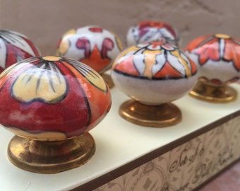 6 Hand Painted Ceramic Knobs / Drawer Pulls