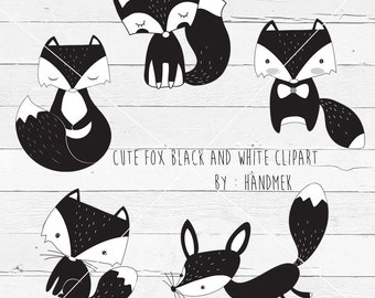 Black and white fox ,fox doodle,cute fox clip art, instant download, PNG file - 300 dpi
