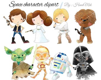 Space character clipart set 1 ,Star Wars clipart, Superhero Clipart PNG file-300 dpi
