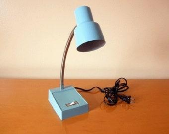 Mid-Century Gooseneck Lamp -Blue Metal- Retro Office / Underwriters Labratories Portable Desk Table Lamp- Working!