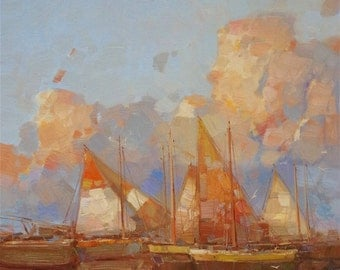 Sailing Boats, Large Original Handmade oil Painting on Canvas  36x24 One of a Kind Impressionism Signed with Certificate of Authenticity