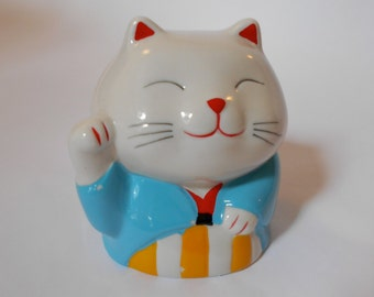 Vintage Japanese Maneki Neko Lucky Cat Bank - Blue - White