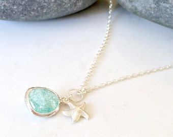 925 sterling silver Erinite Necklace Starfish Necklace Aquamarine jewelry Erinite jewelry Starfish Jewelry Beach Wedding march birthstone