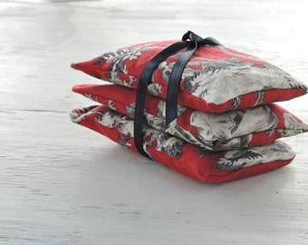Red and Black Toile Lavender or Balsam Sachets Set of 3, Organic Lavender, Lavender Pillows, Natural Aroma Therapy