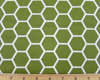 Hexagon  Moss Green Fabric