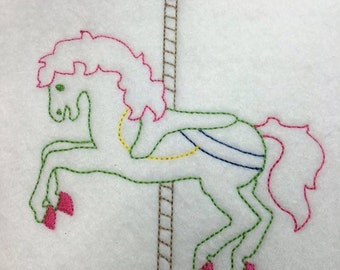 Carousel Horse - Sketch - Redwork style  - 3 Sizes Included - DIGITAL Embroidery DESIGN