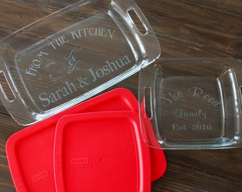 Personalized Pyrex Gift Set - 9x13 & 8x8 with lids