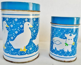 Country Farm Kitchen Tin Canisters Set