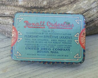 Antique Rexall Orderlies No. A15 Laxative Tin