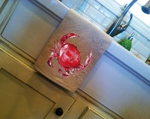 Kitchen Dish Towel, Crab, Nautical, Handtowel, Beach Decor, Kitchen Decor, Hand-painted, Handmade, No. 398