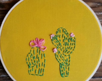 Cactus Embroidery Hoop Wall Art